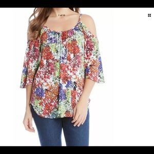 Karen Kane Optic Bloom Cold Shoulder Blouse sz Med